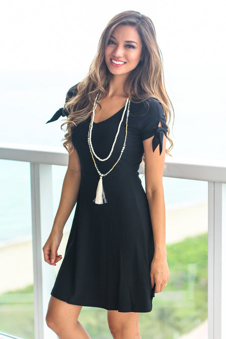 Black Ribbed Short Dress