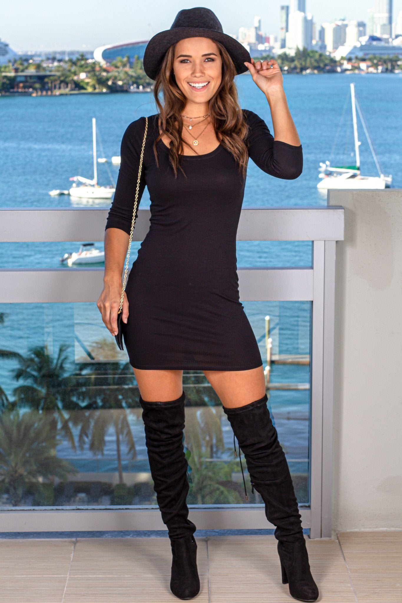 Black Ribbed Short Dress with 34 Sleeves