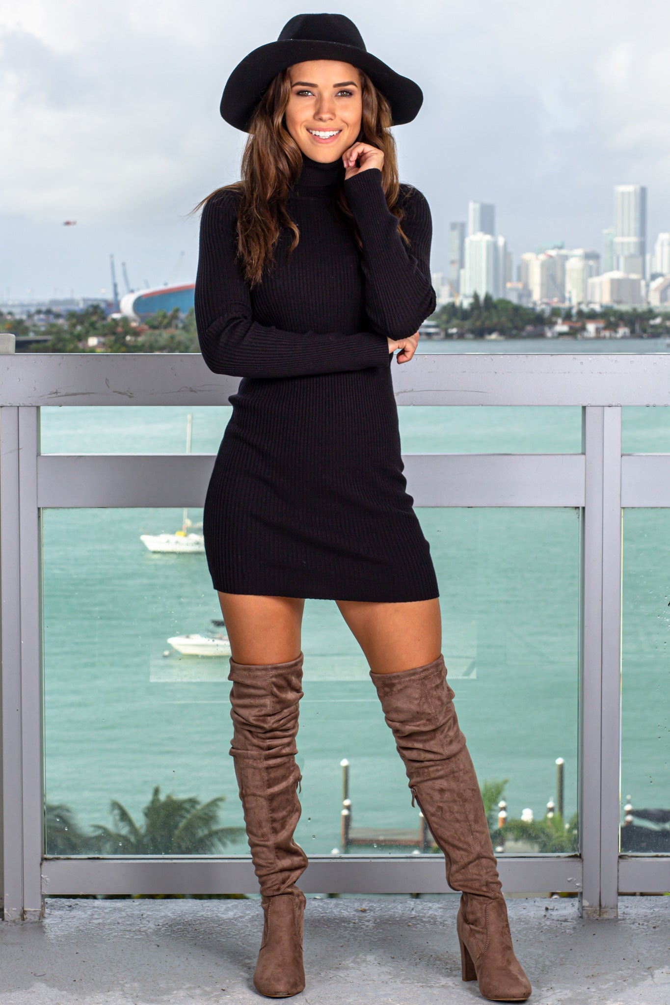 Black Ribbed Turtle Neck Short Dress