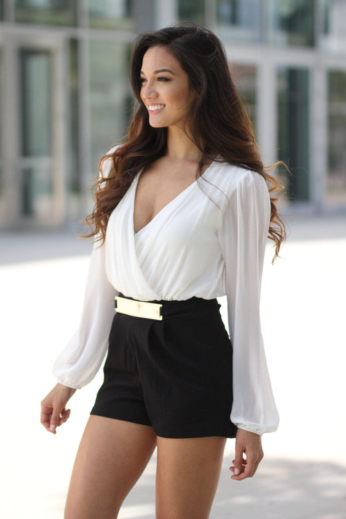 black and white romper with belt