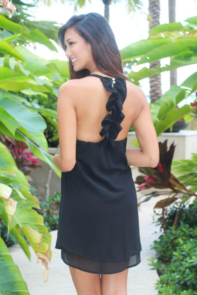 Black Ruffle Back Dress