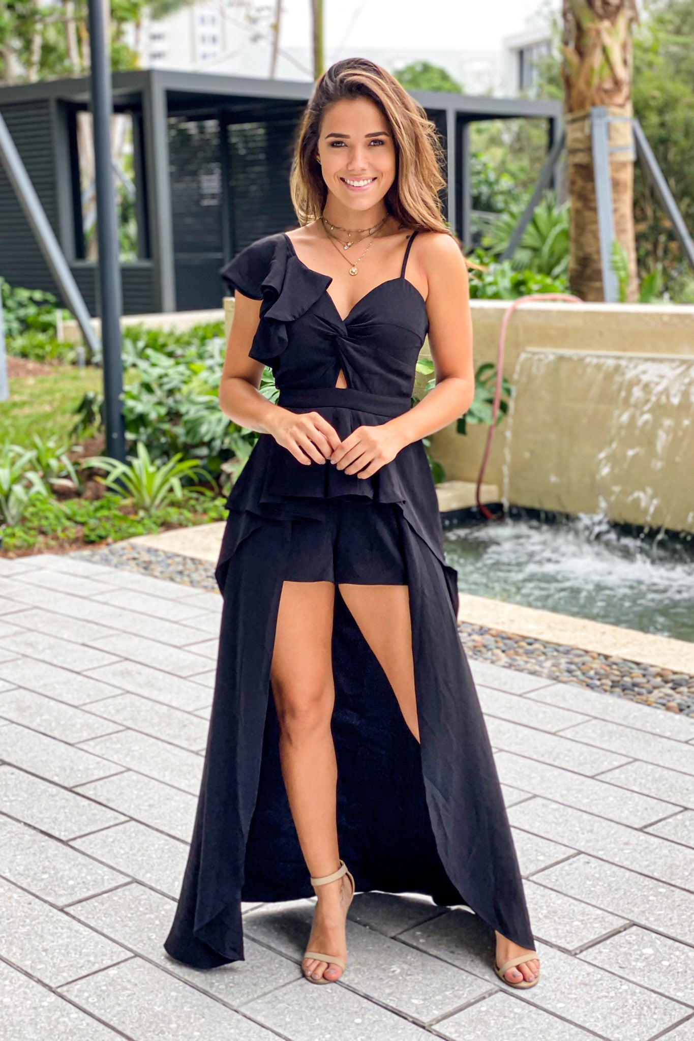 Black Ruffled Maxi Romper