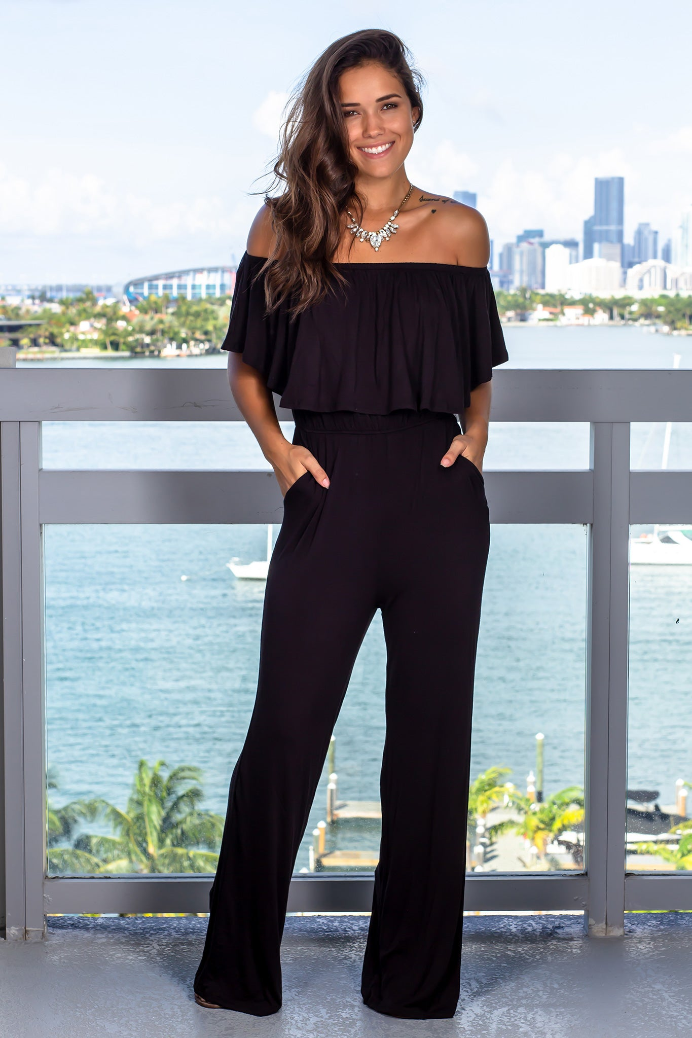 Black Ruffled Off Shoulder Jumpsuit