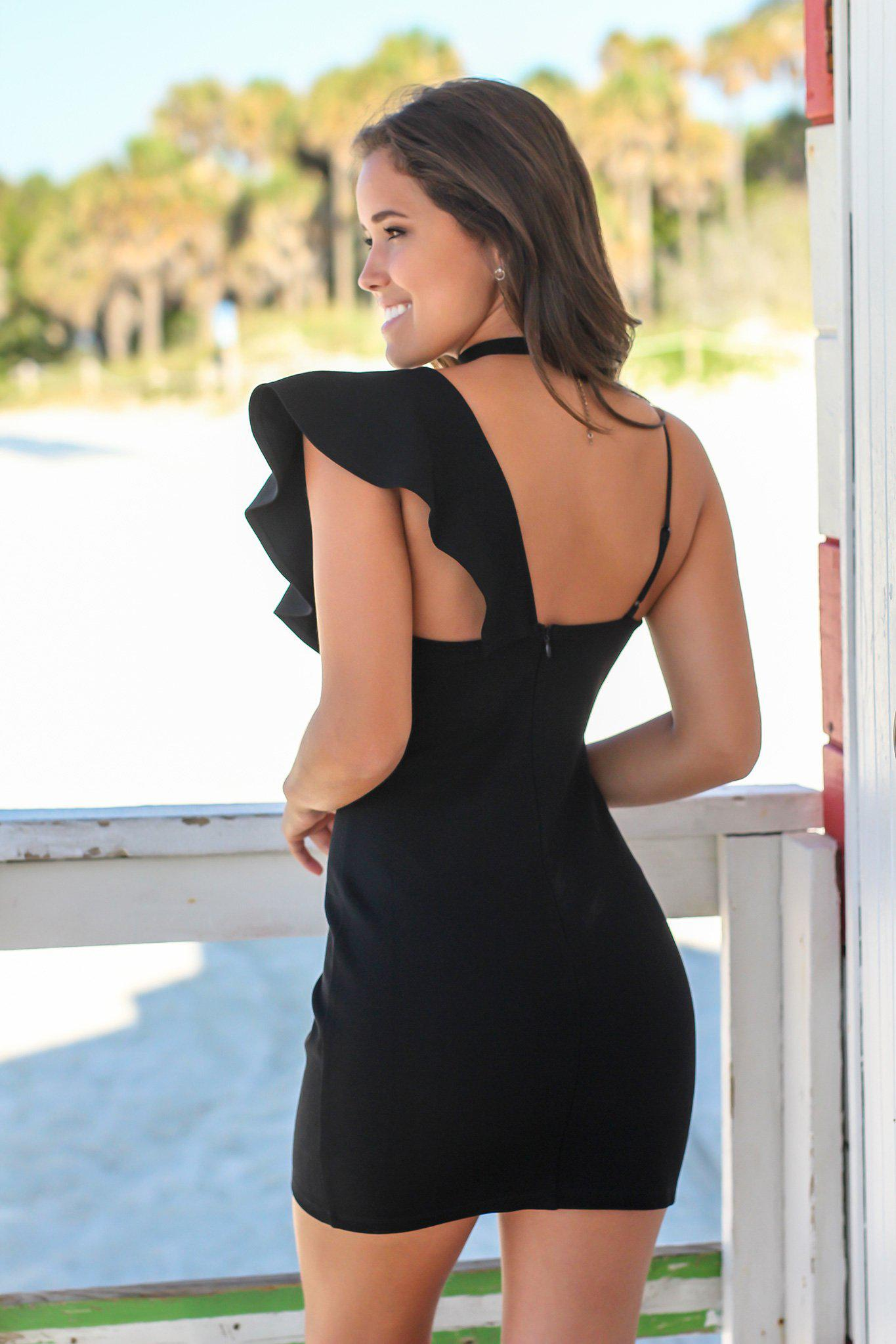 Black Ruffled One Shoulder Short Dress