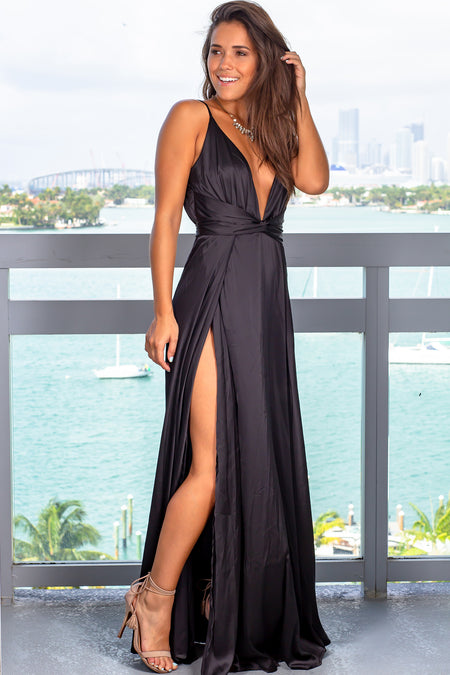 Black Satin Maxi Dress with Slits