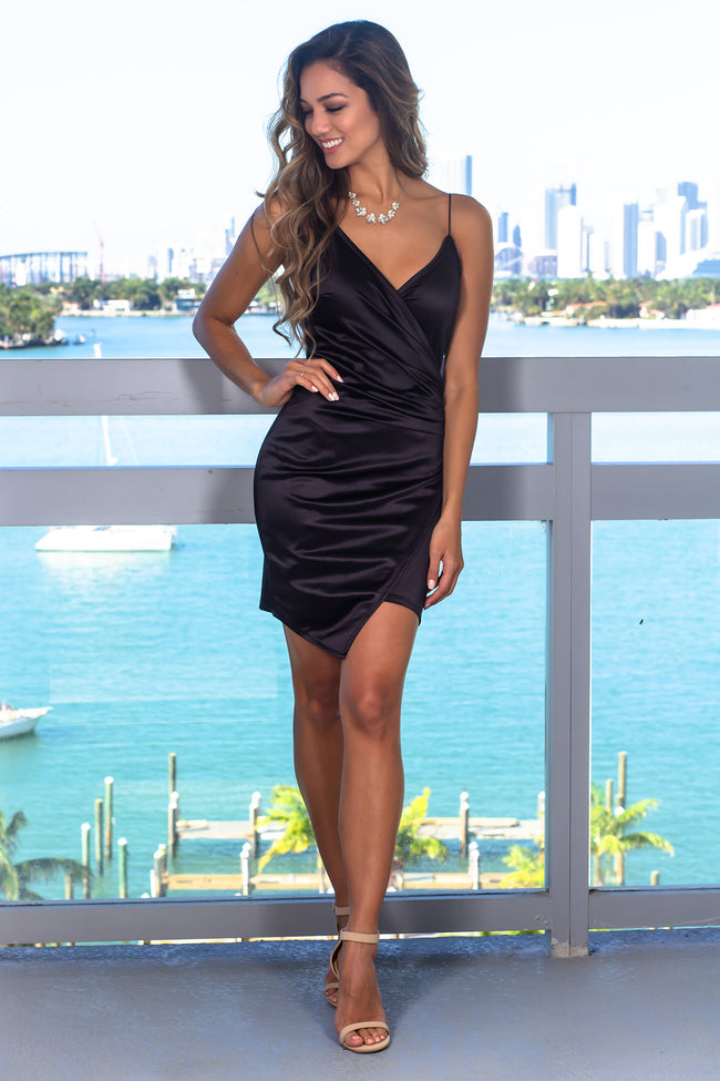 Black Satin Short Dress with Ruched Side