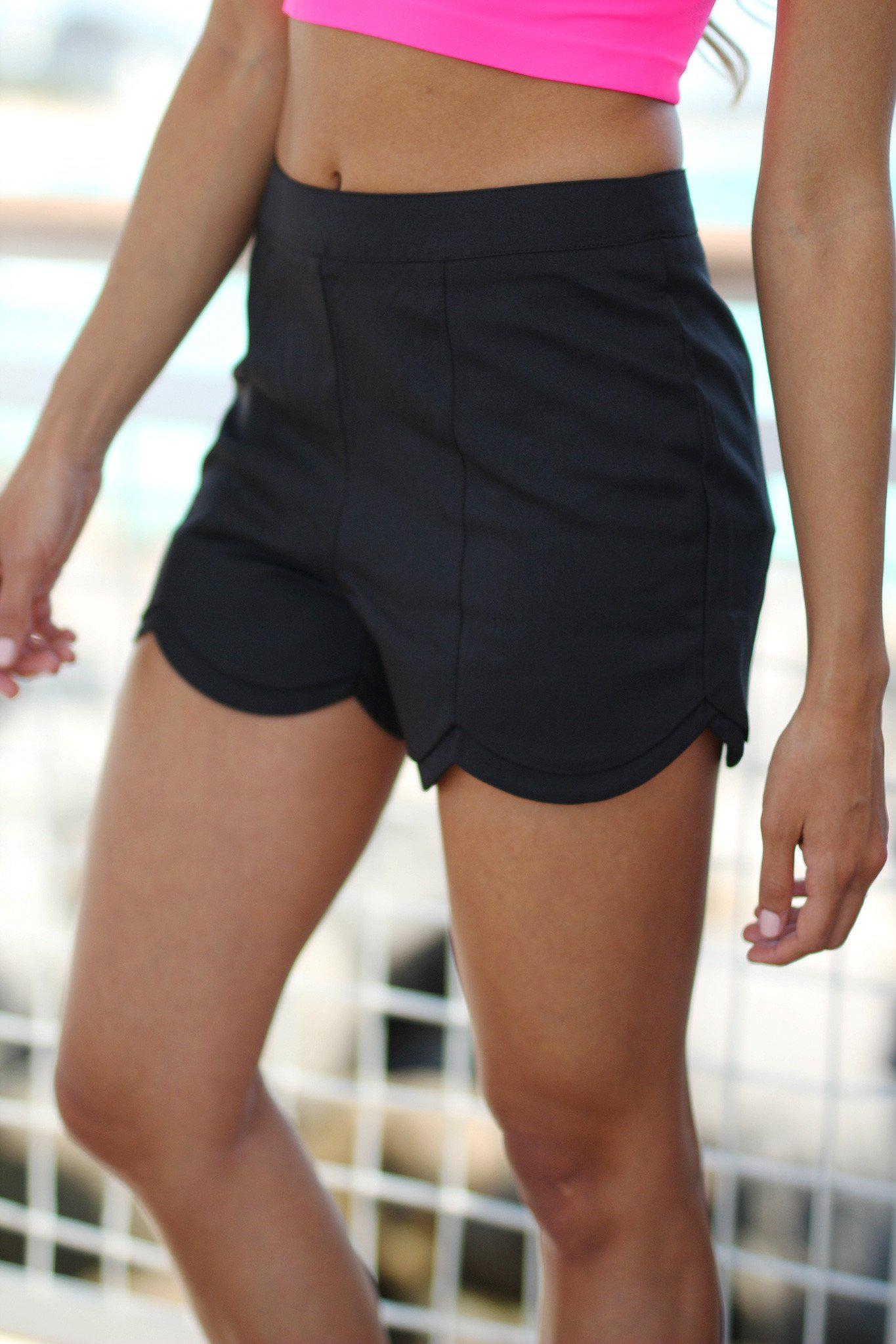 Black High Waist Scalloped Shorts