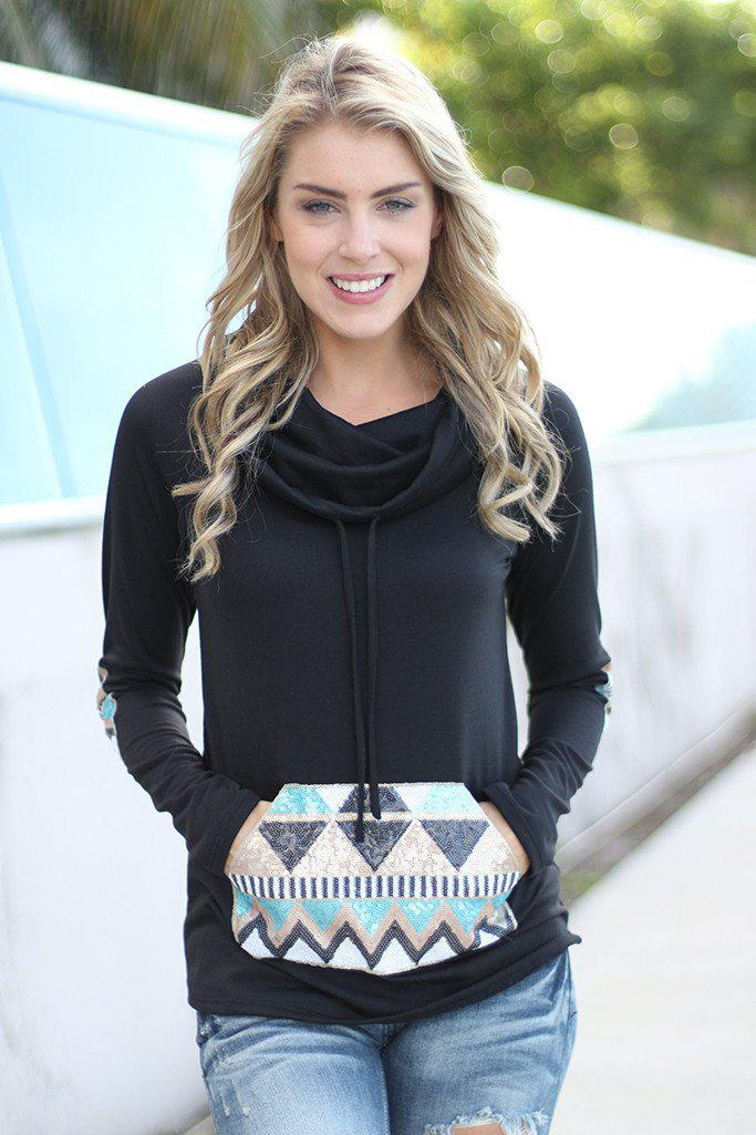 Black Sequin Cowl Sweater