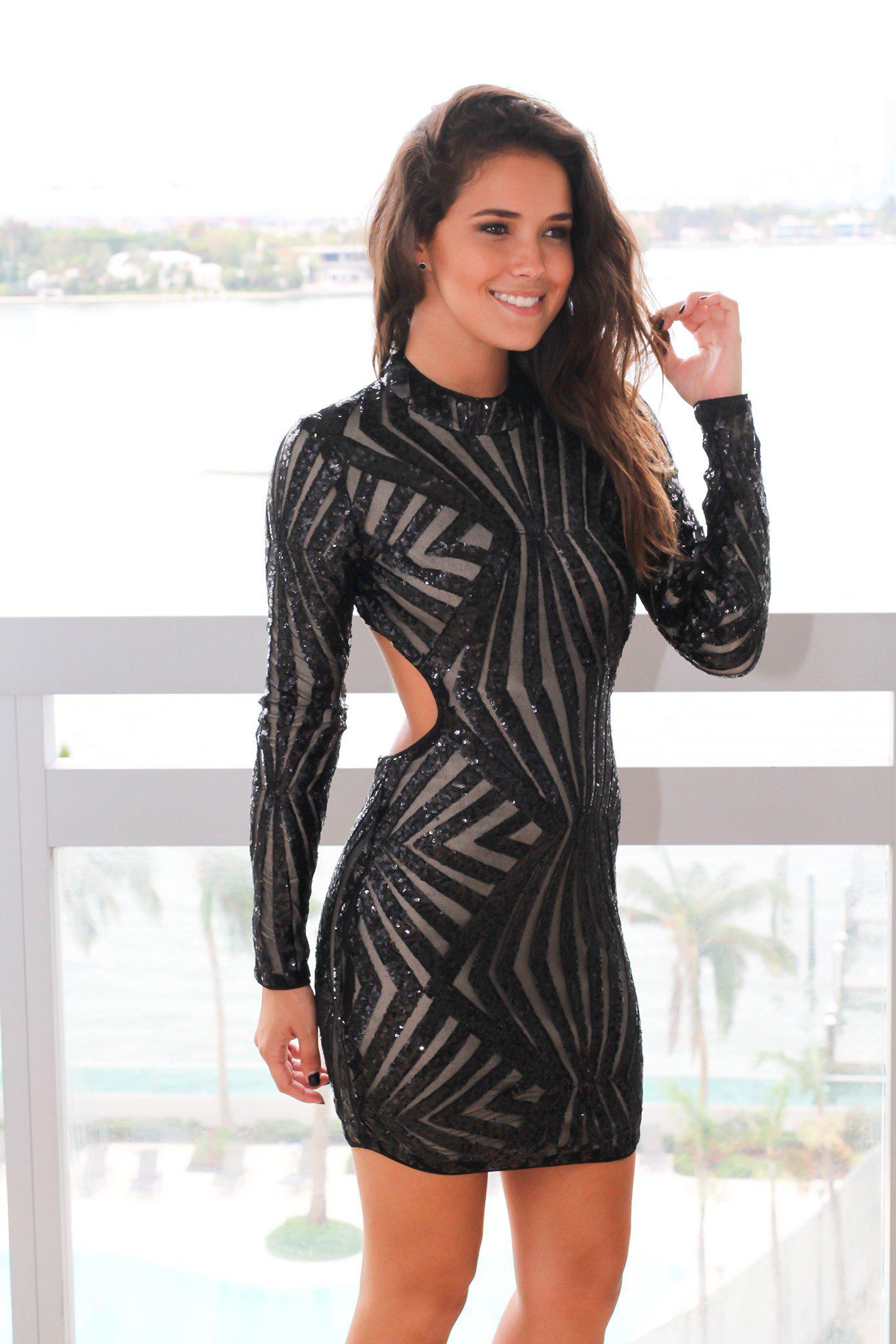 Black Sequin Long Sleeve Short Dress with Open Back