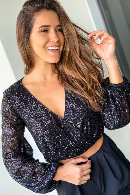 Black Sequin Long Sleeve Top