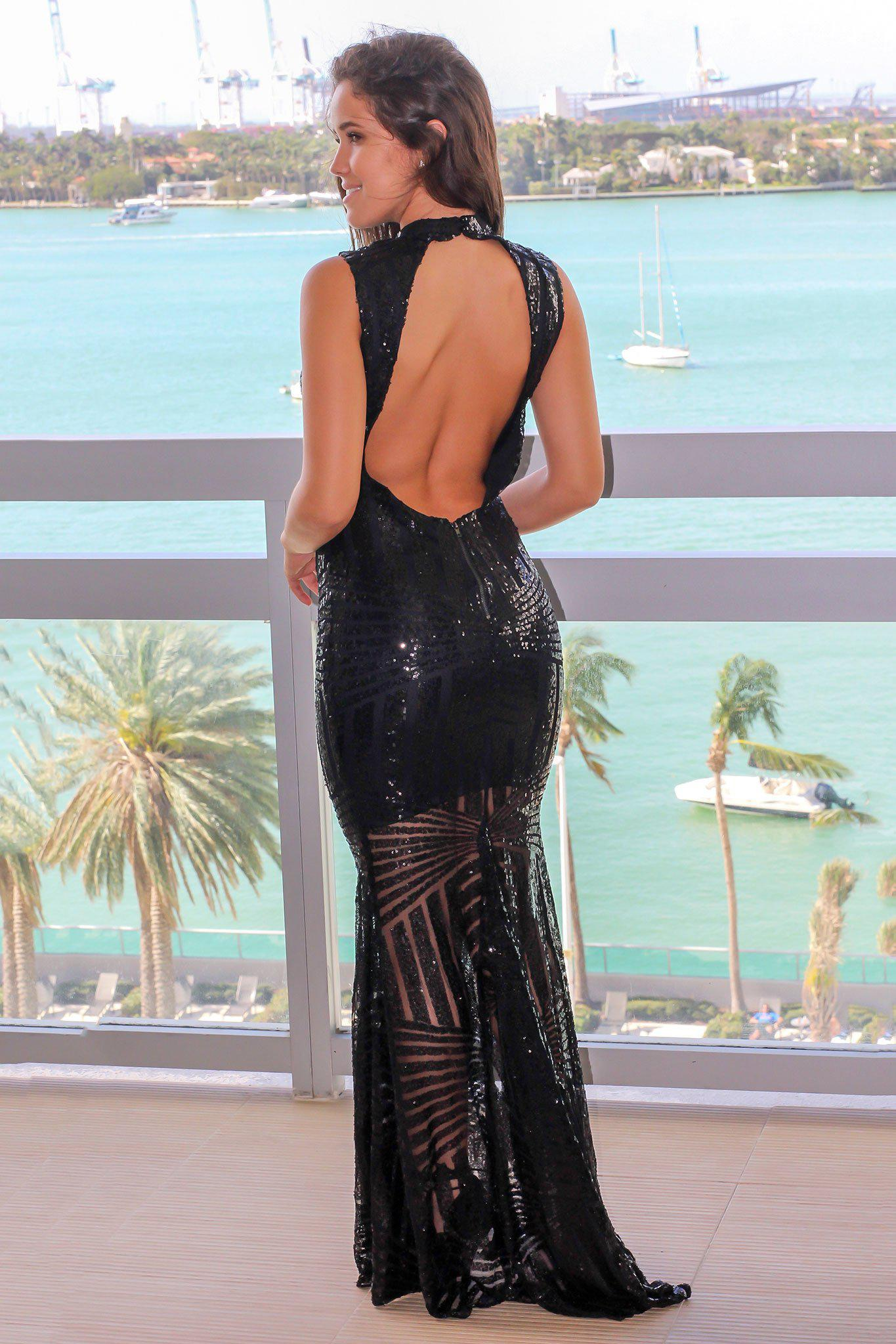 Black Sequin Maxi Dress with Open Back