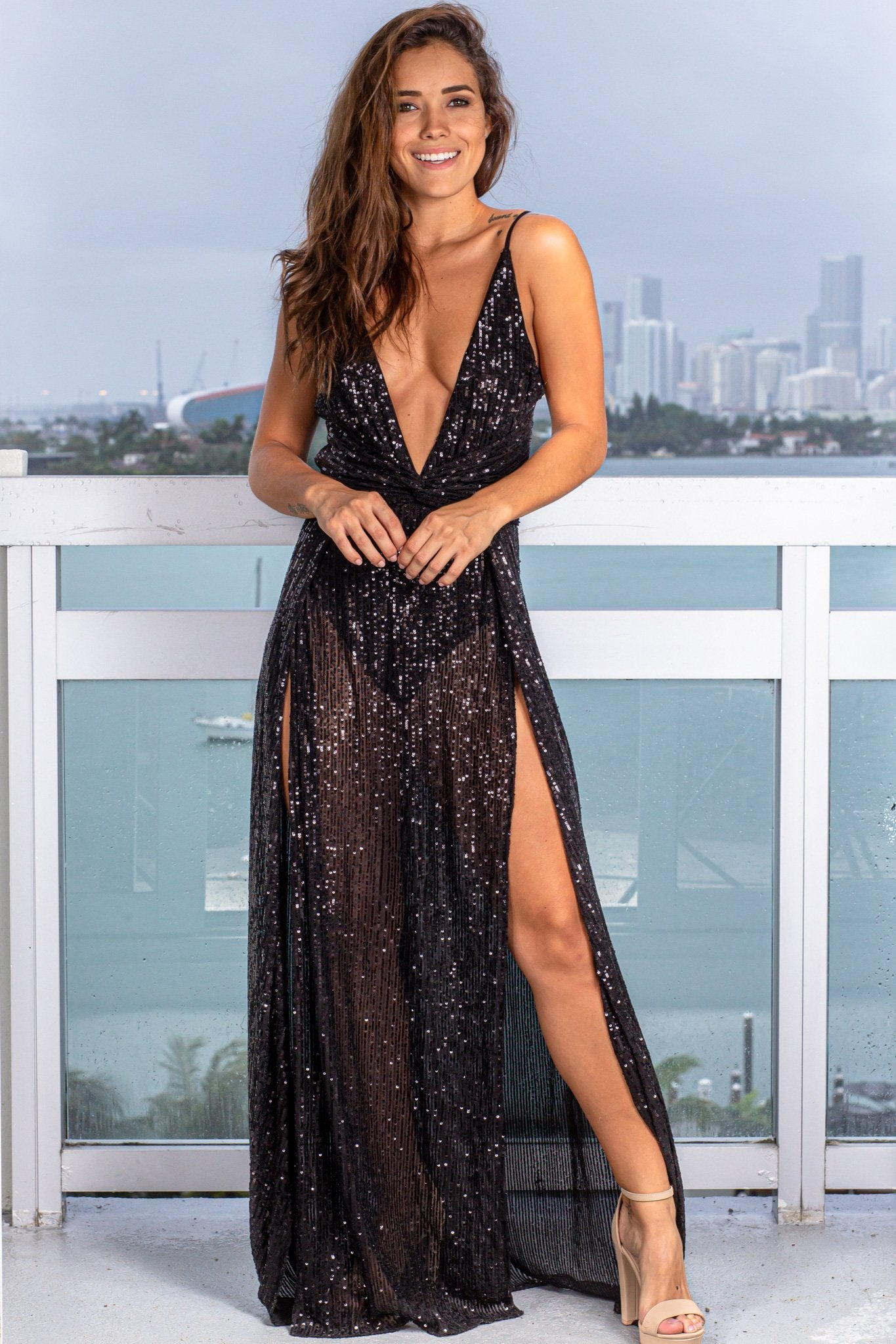 Black Sequin Maxi Dress with Slits