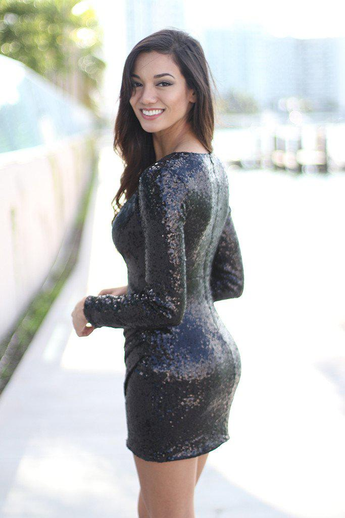 Black Sequin Short Dress