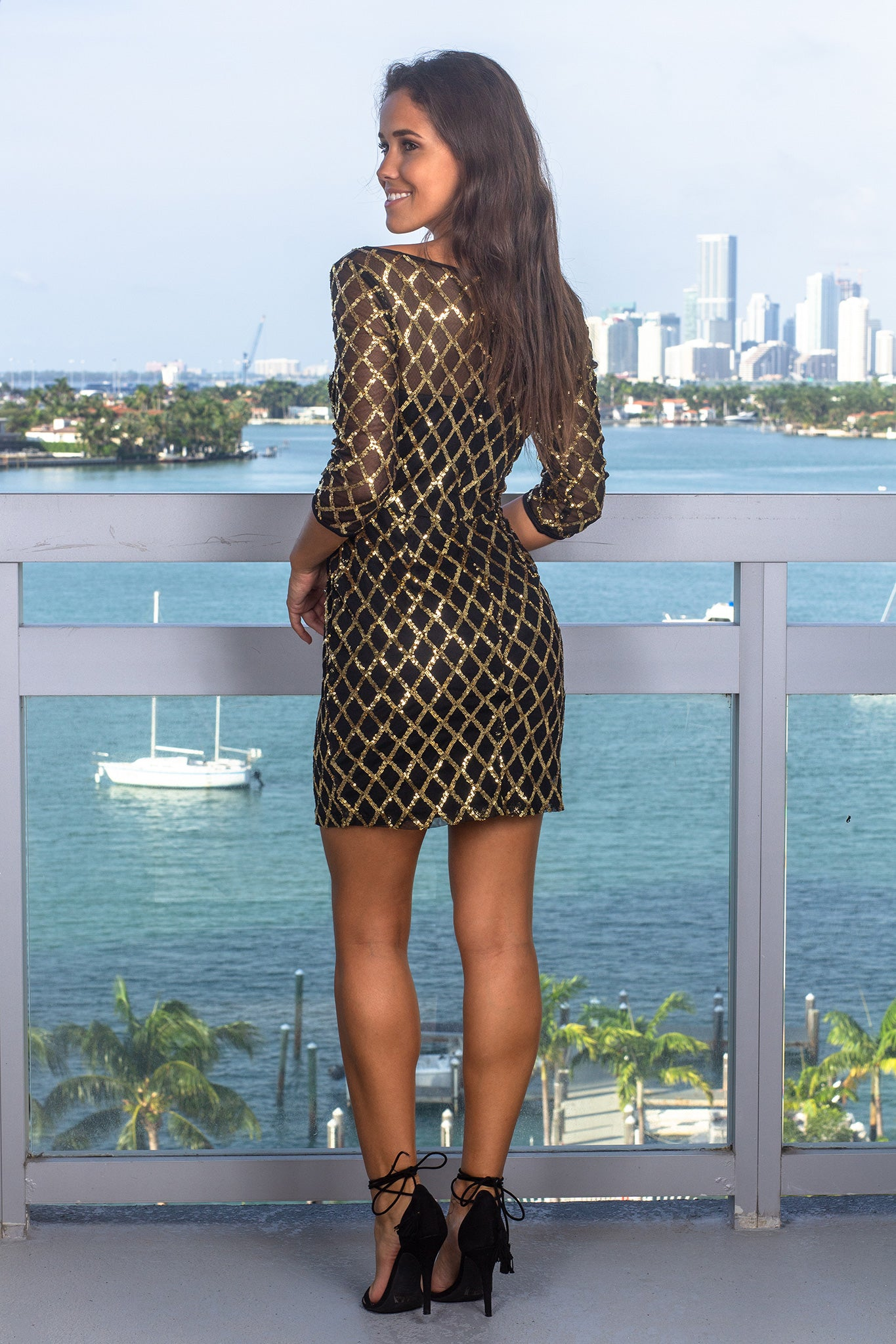 Black Sequin Short Dress with Gold Sequins