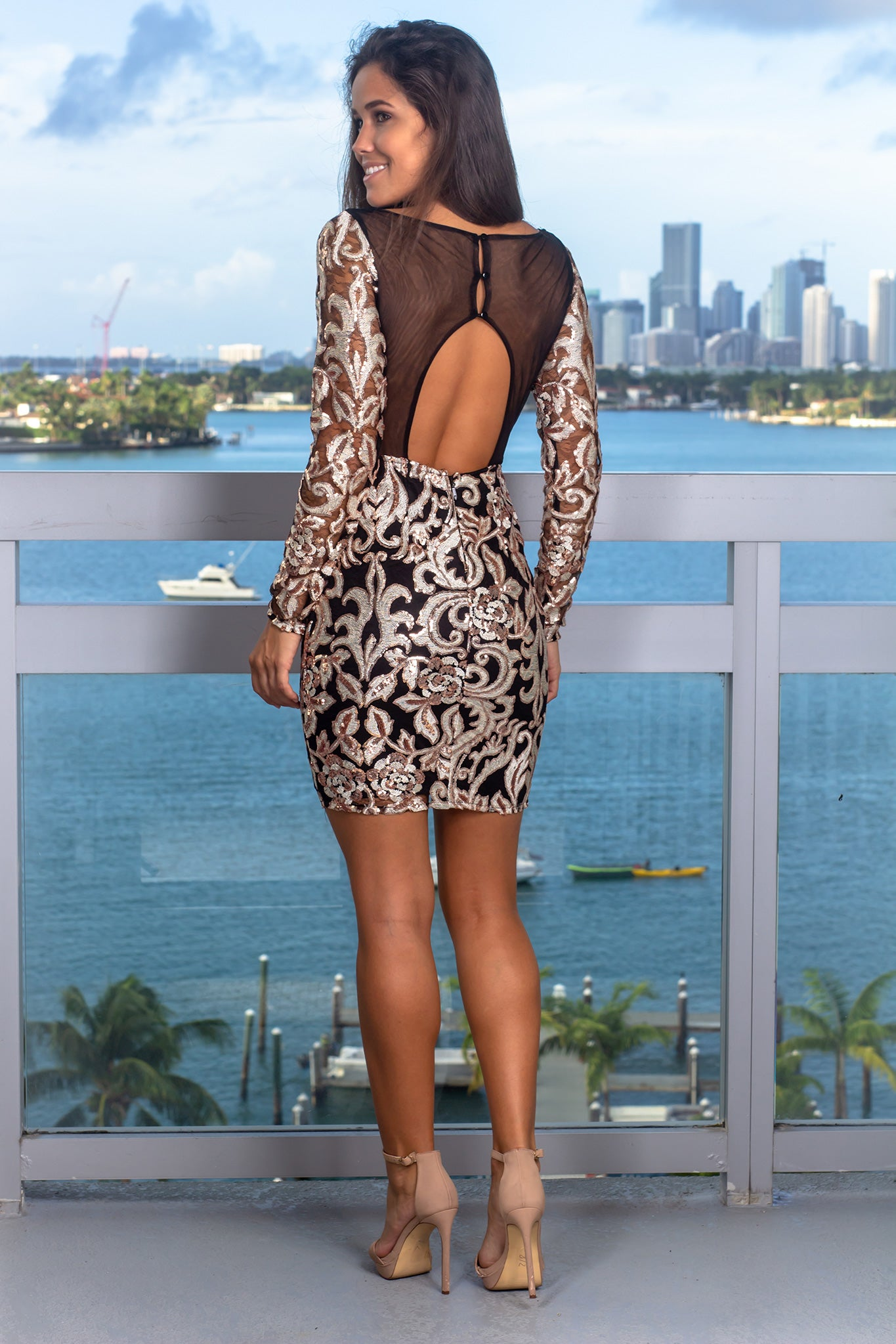 Black Sequin Short Dress with Open Back