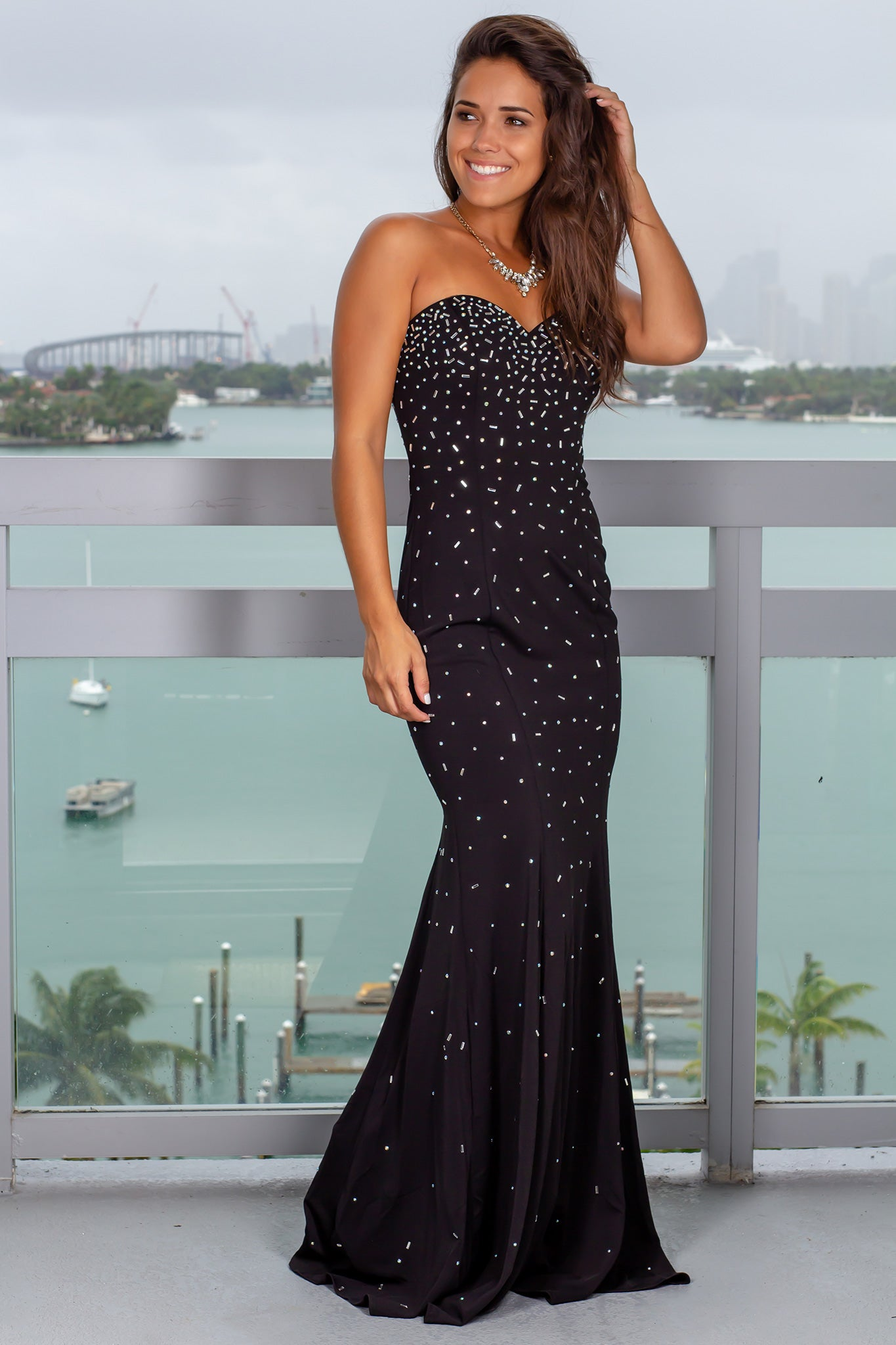 Black Sequin Strapless Maxi Dress
