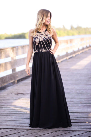 Black Maxi Dress with Sequined Flower Top