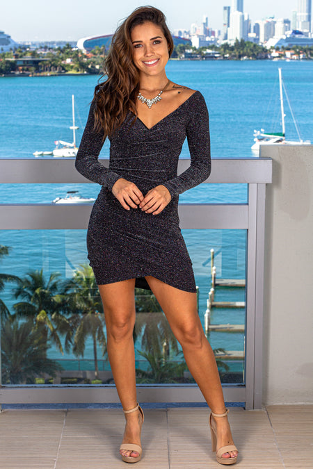 Black Shimmer Off Shoulder Short Dress