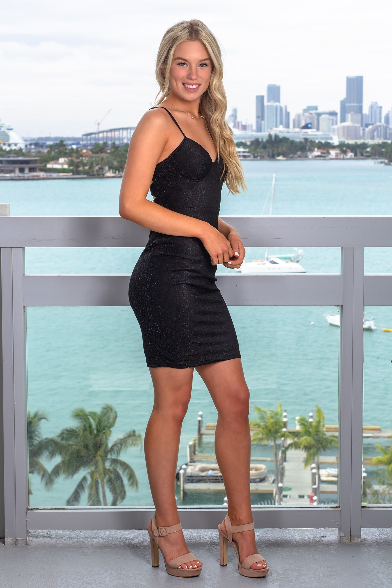 Black Shimmer Short Dress
