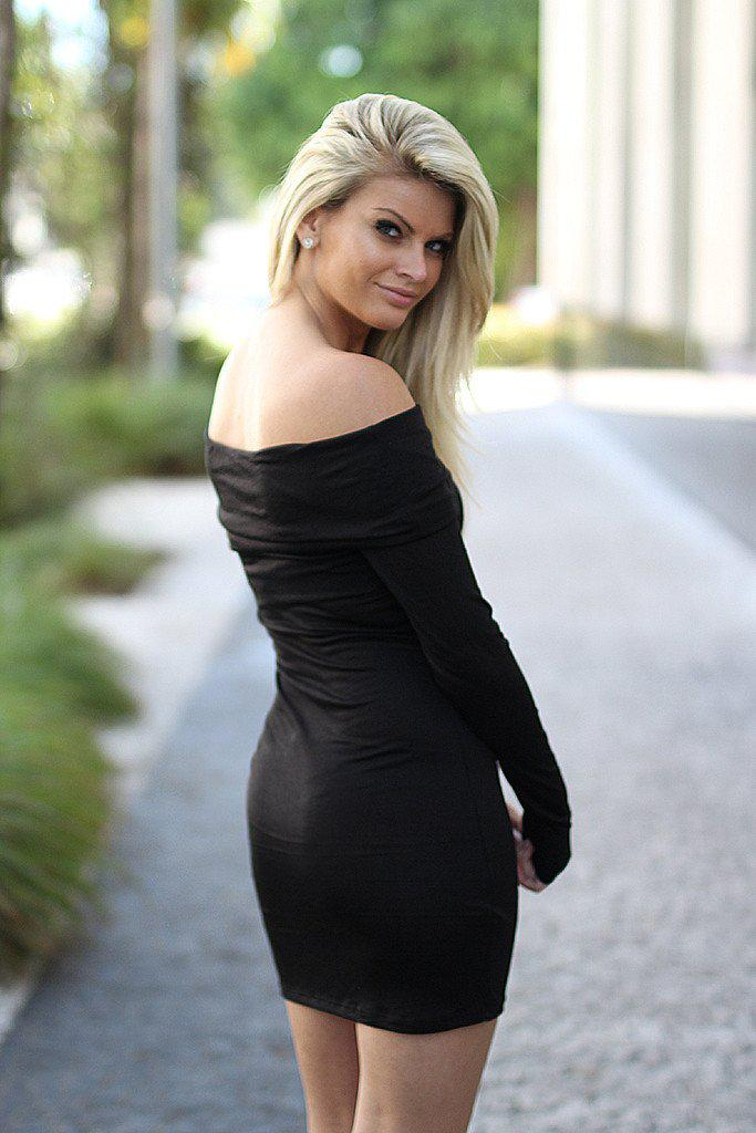 Black Off Shoulder Short Dress