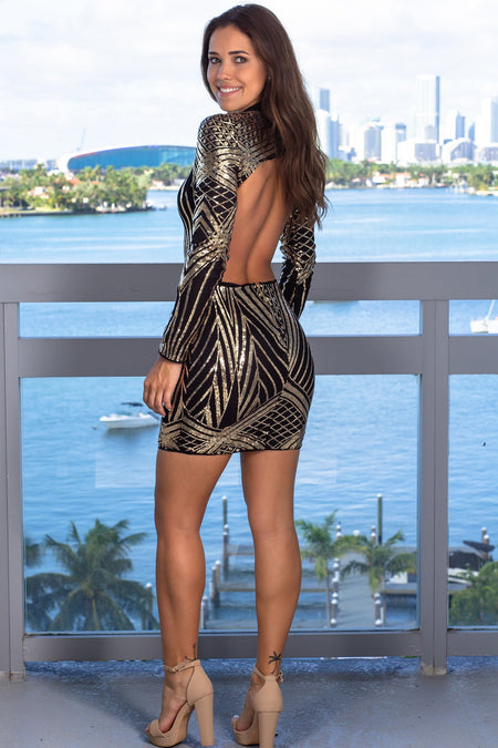 Black and Gold Open Back Sequin Short Dress