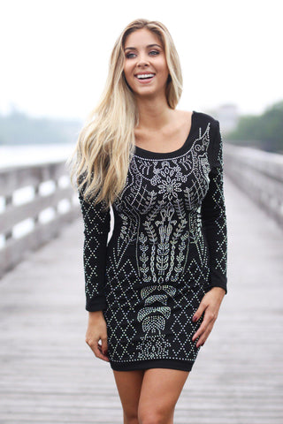 Black Iridescent Short Dress with Open Back