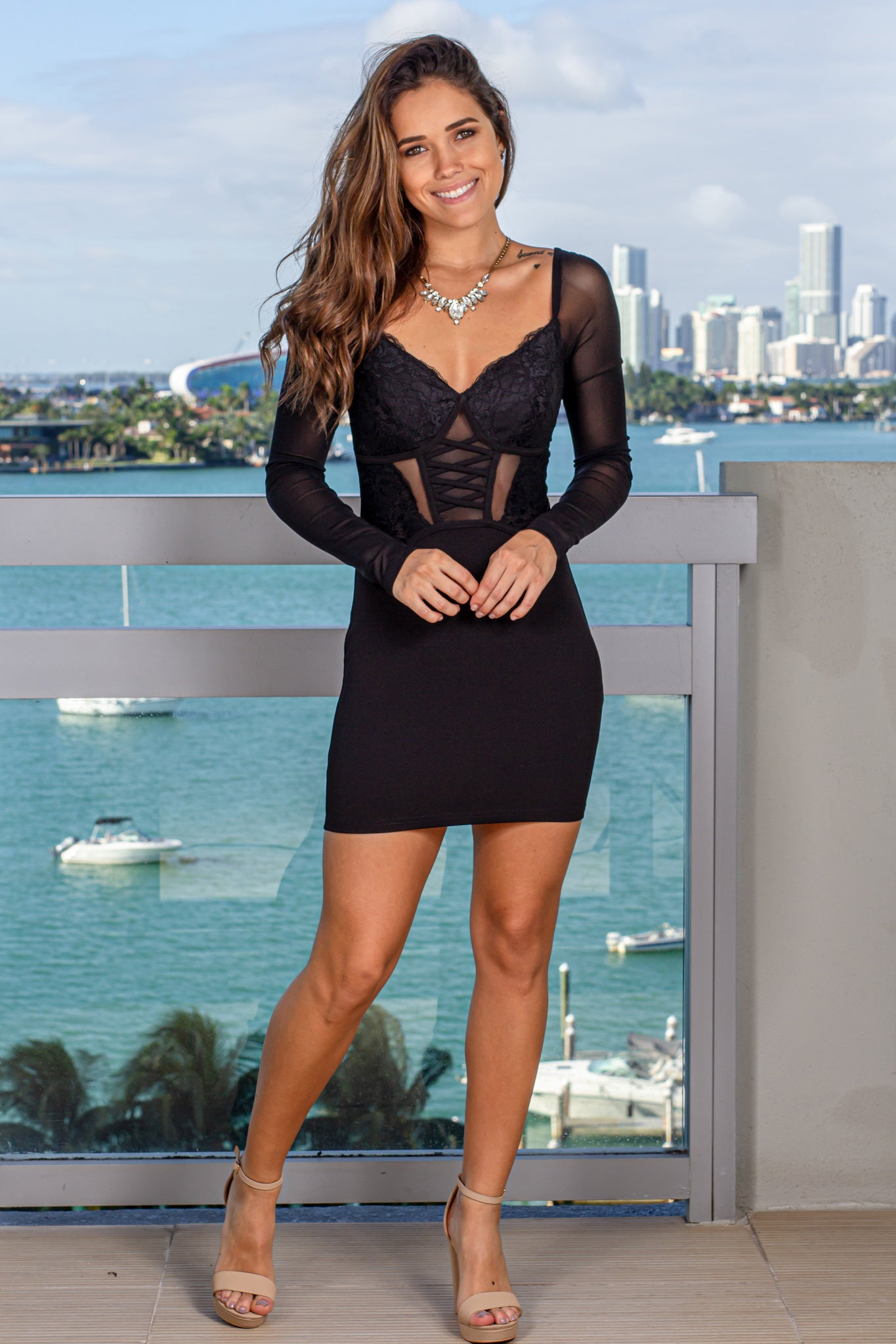 Black Short Dress with Corset Top