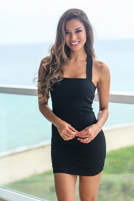 Black Short Dress with Criss Cross Back