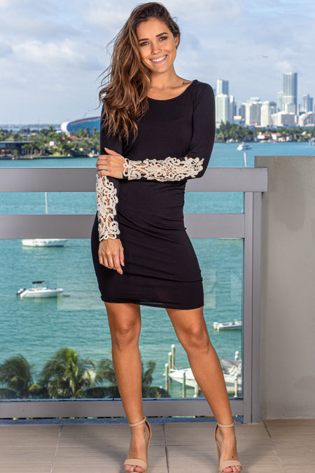 Black Short Dress with Crochet Sleeves