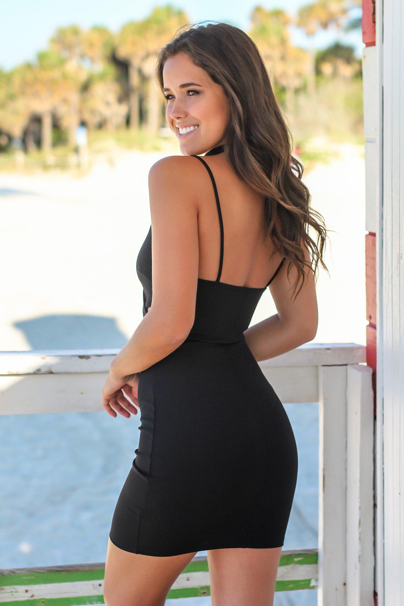 Black Short Dress with Cut Outs