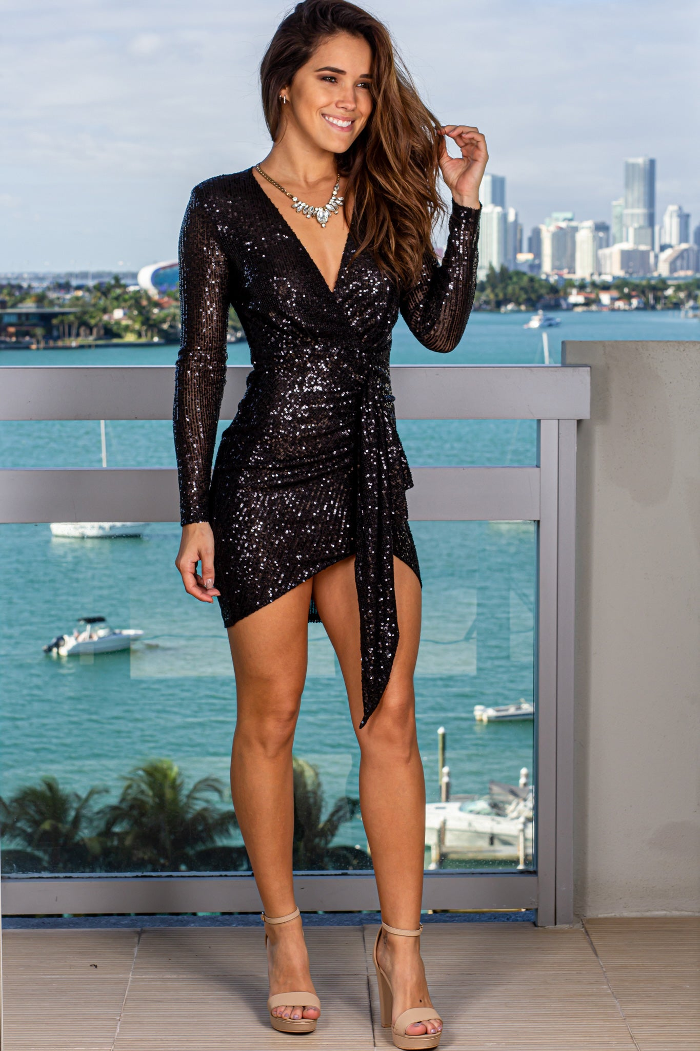 Black Short Dress with Draped Front