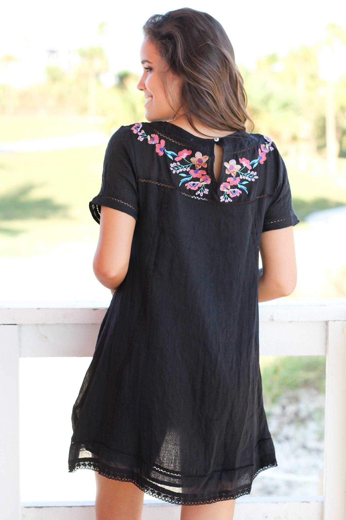 Black Short Dress with Floral Embroidery