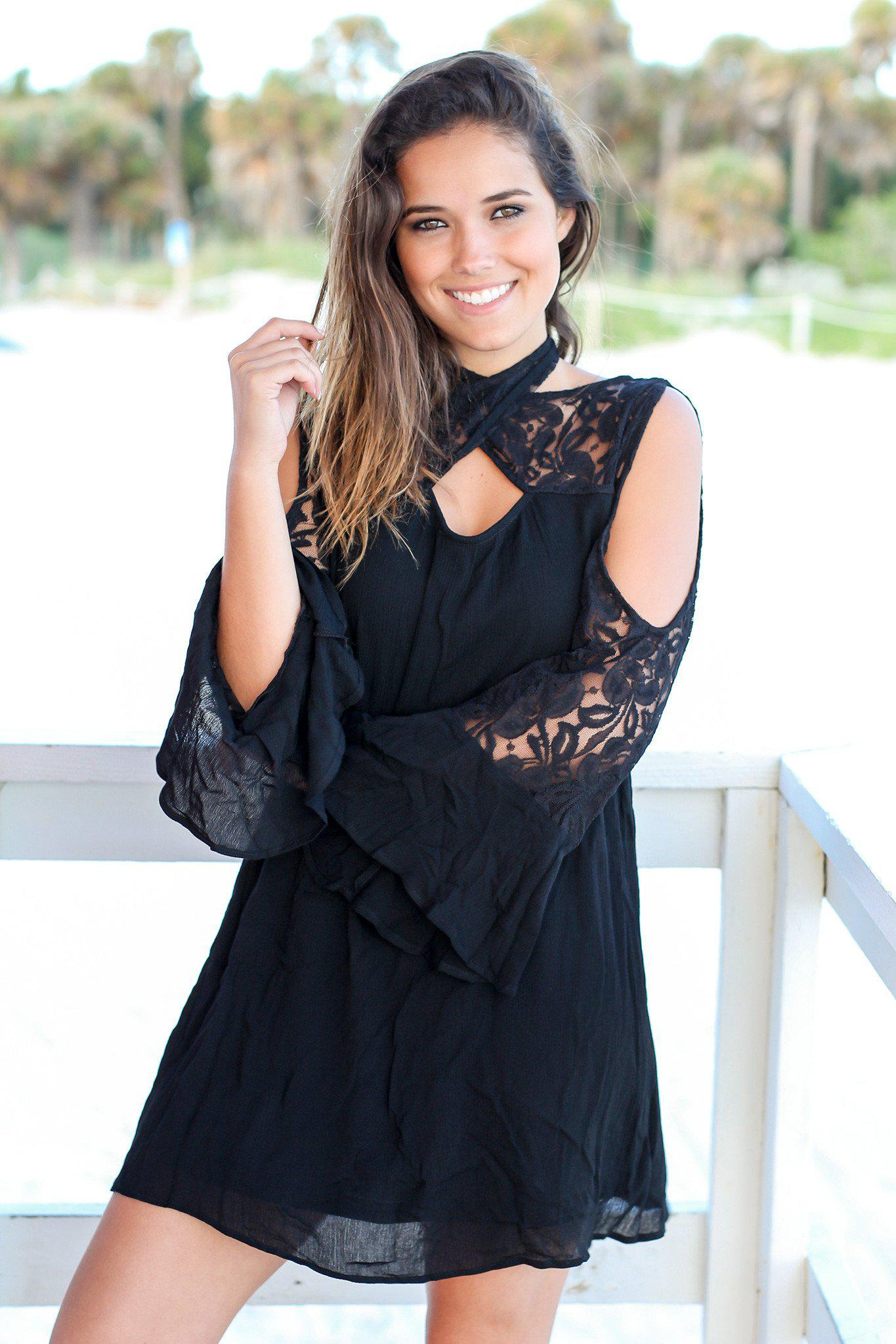 Black Short Dress with Lace Cut Out Sleeves