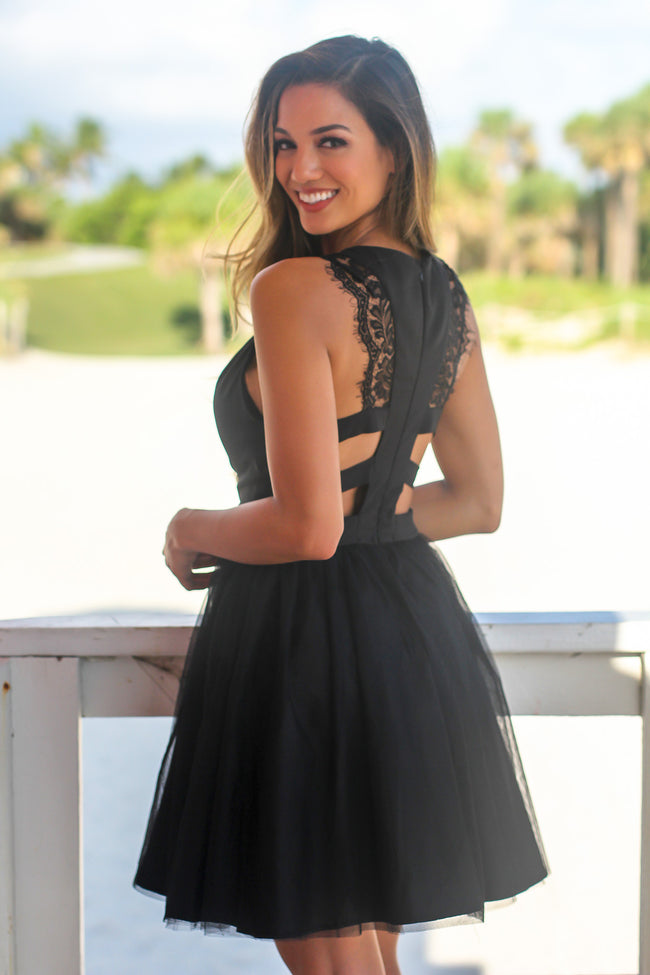Black Short Dress with Lace Detail