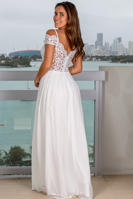 Off White Off Shoulder Embroidered Maxi Dress with Side Slit
