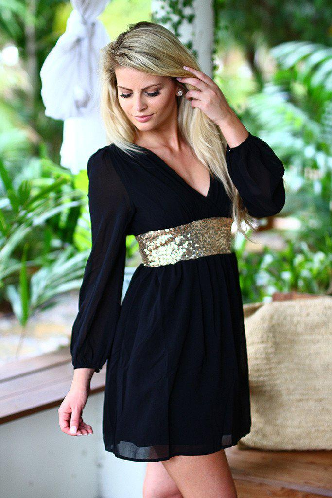 Black Short Dress with Sequin Waist Band