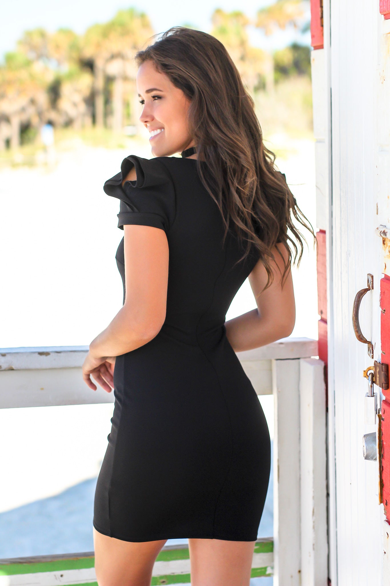 Black Short Dress with Square Neckline