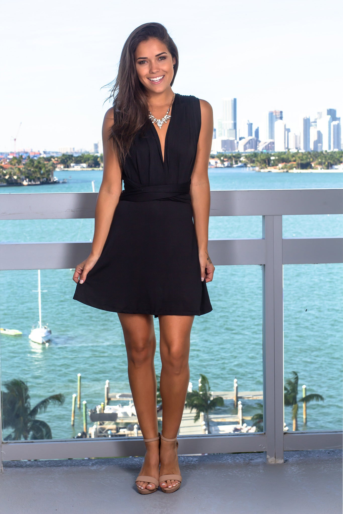 Black Short Dress with Tie Back