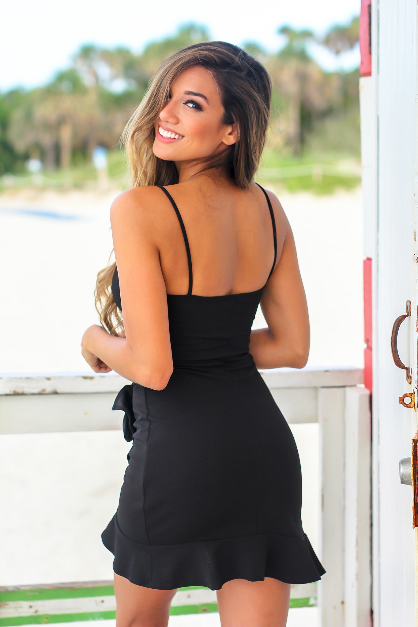 Black Short Dress with Wrap Skirt
