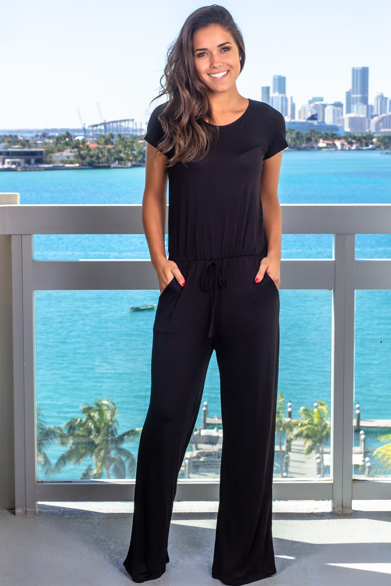 Black Short Sleeve Jumpsuit with Pockets