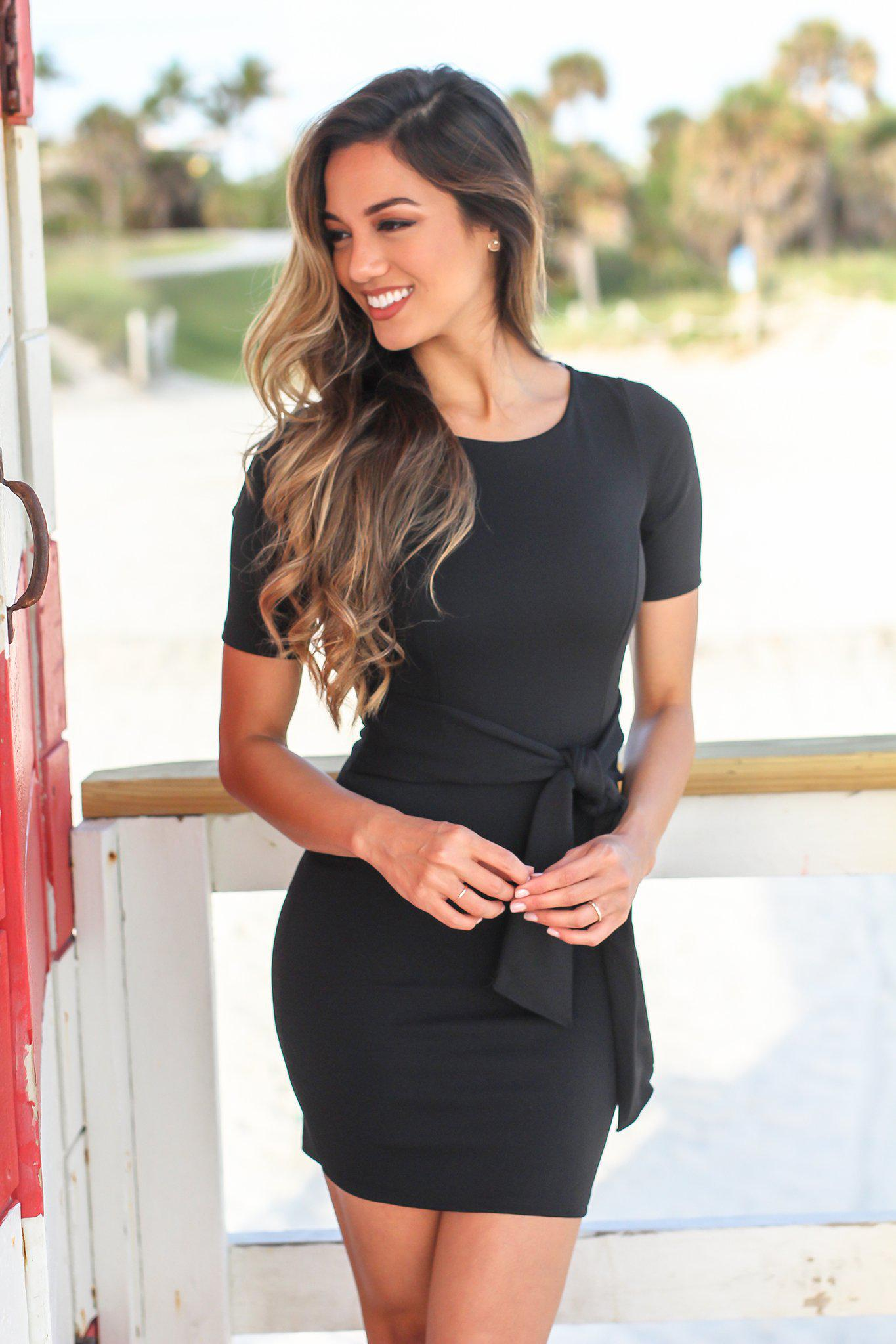 Black Short Sleeve Short Dress with Waist Tie