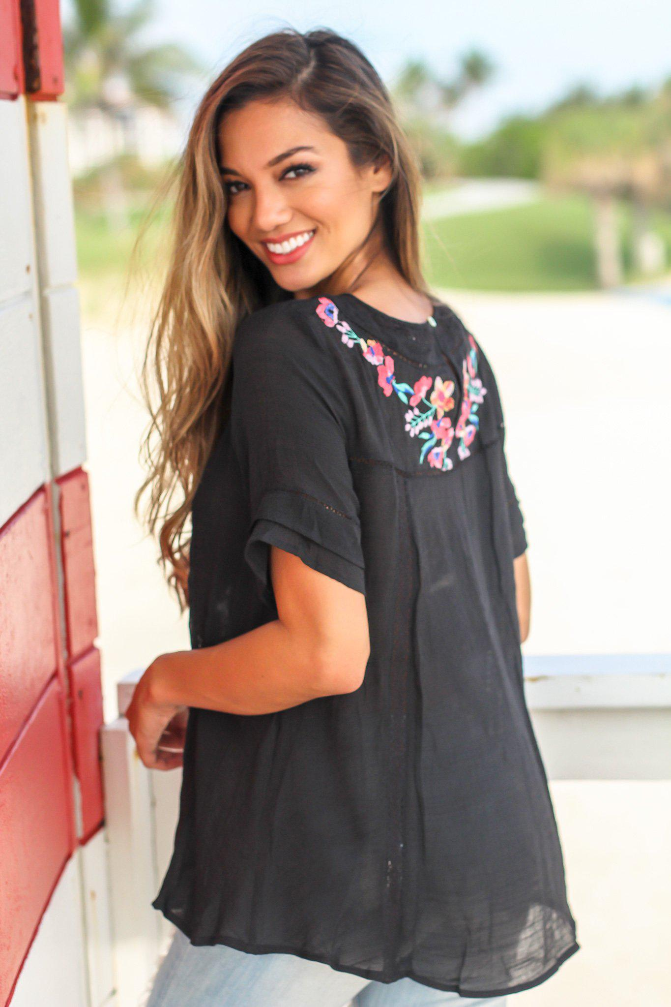 Black Short Sleeve Top with Floral Embroidery