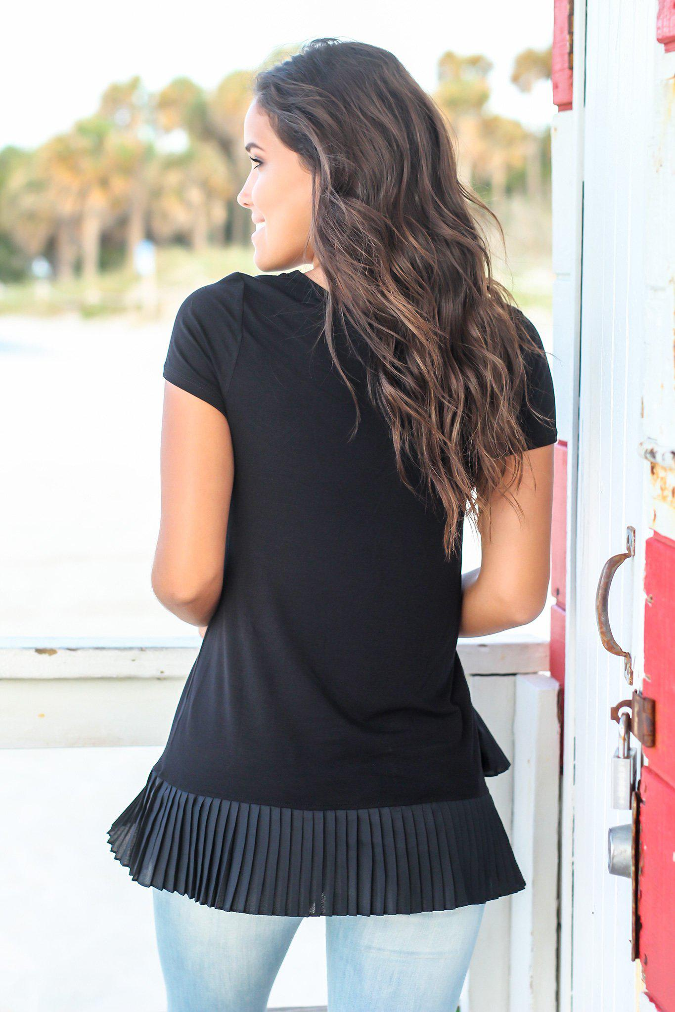 Black Short Sleeve Top with Pleated Hem