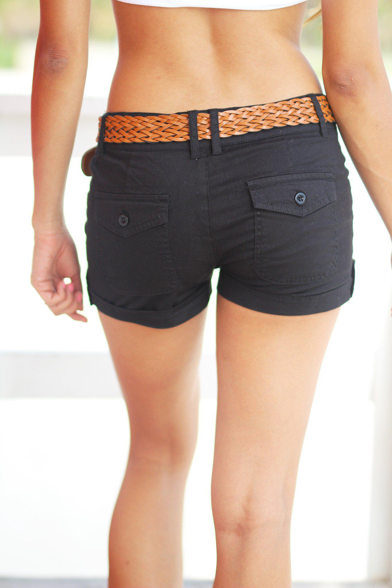 Black Shorts with Braided Belt