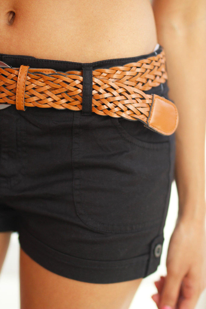 black cool shorts with braided belt