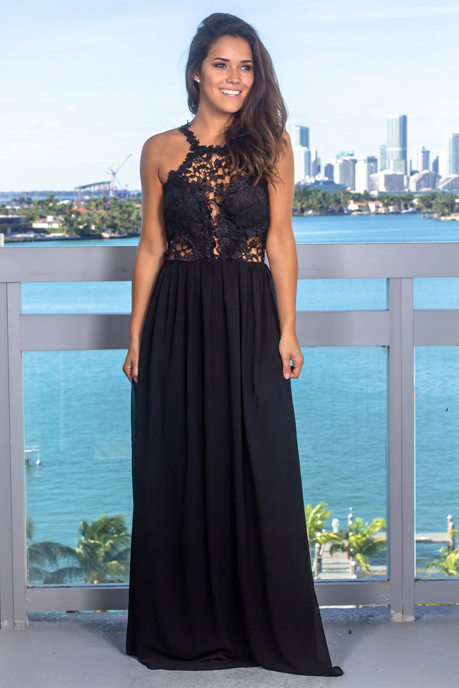 Black Sleeveless Crochet Top Maxi Dress