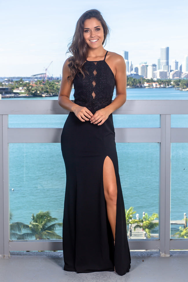 Black Sleeveless Embroidered Top Maxi Dress