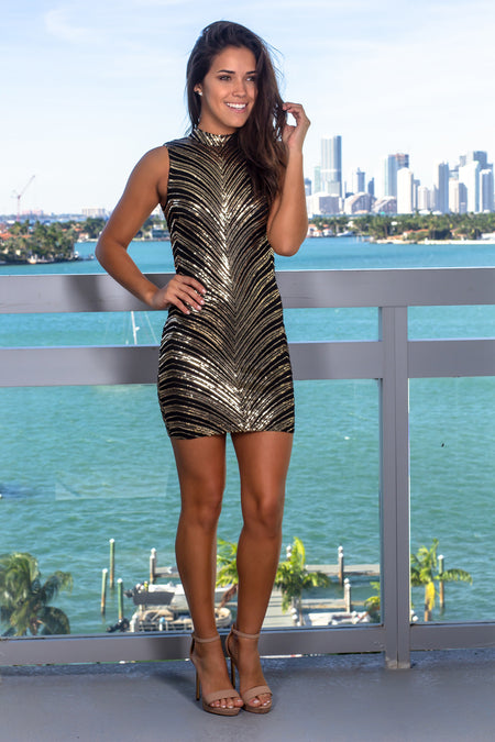 Black Sleeveless Sequined Short Dress