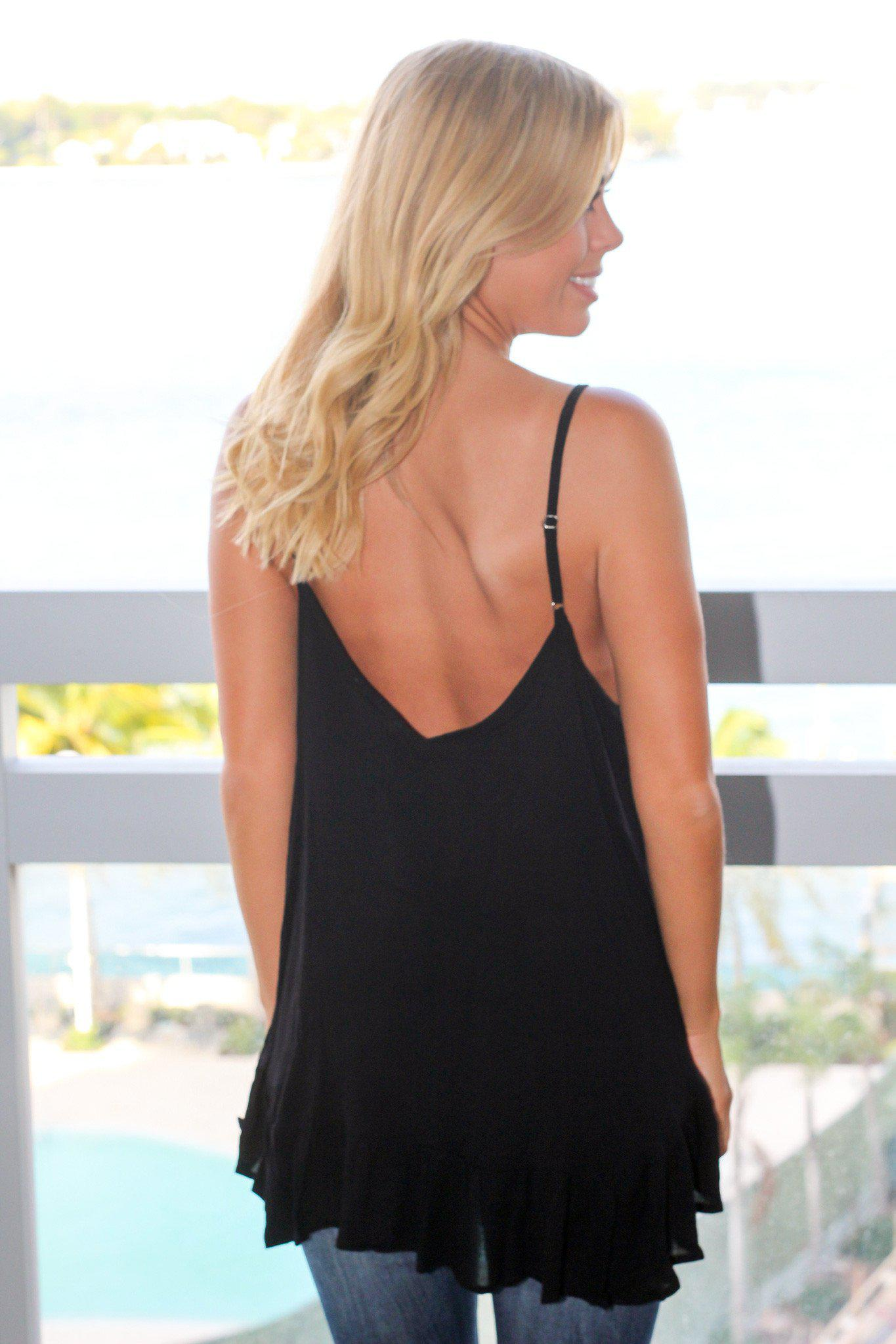 Black Sleeveless Top with Strap Detail