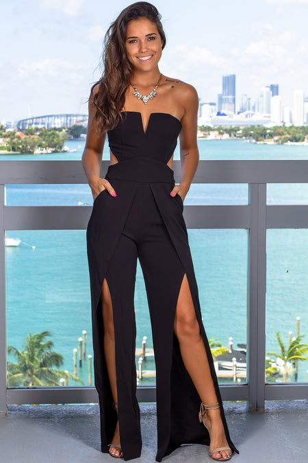 Black Strapless Jumpsuit with Pockets